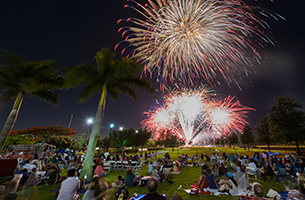 Image of crowd watching fireworks at annual Fourth of July event
