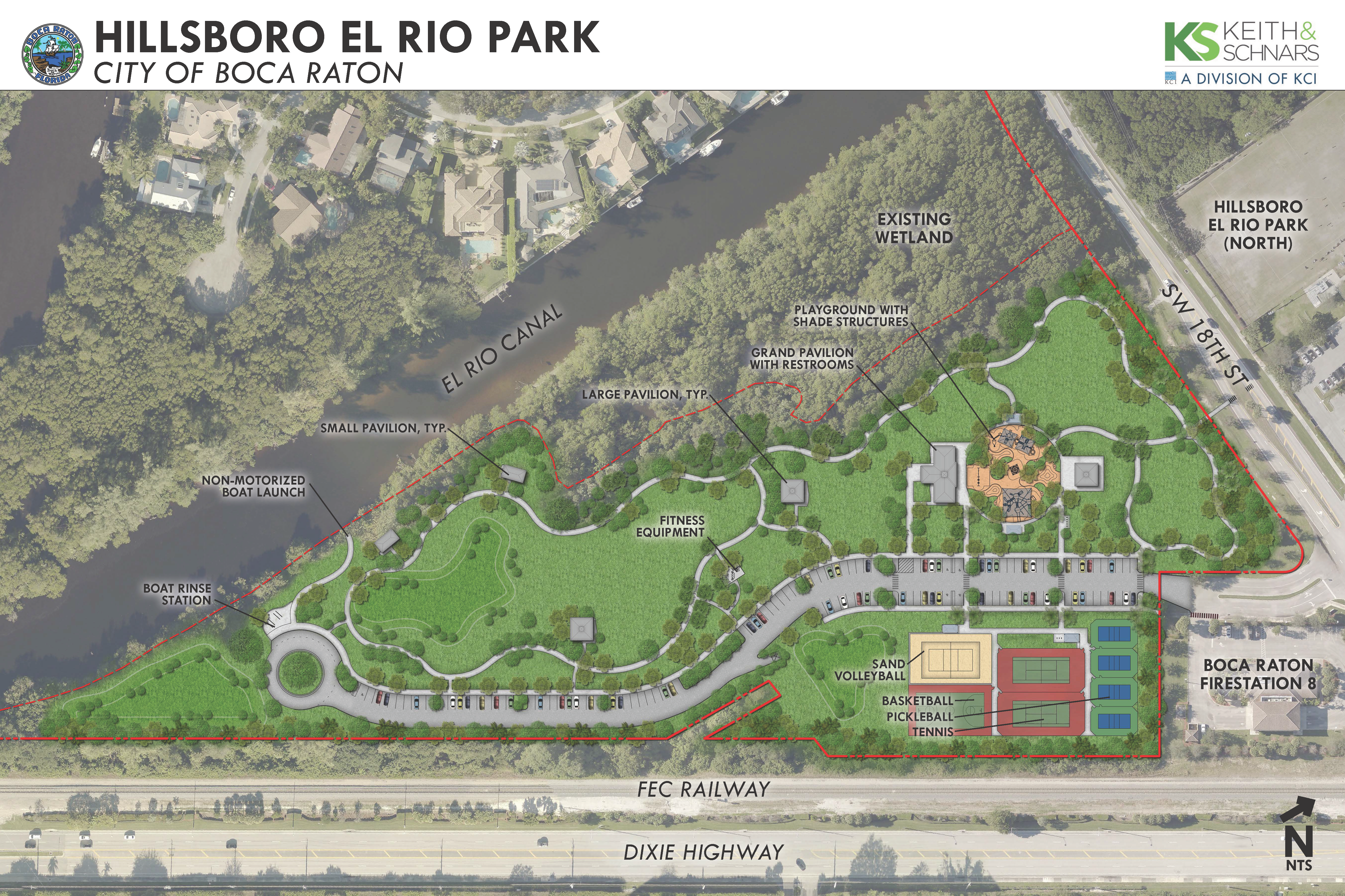 Hillsboro El Rio Park, City of Boca Raton site rendering. KS Keith and Schnars, a Division of KCI Opens in new window