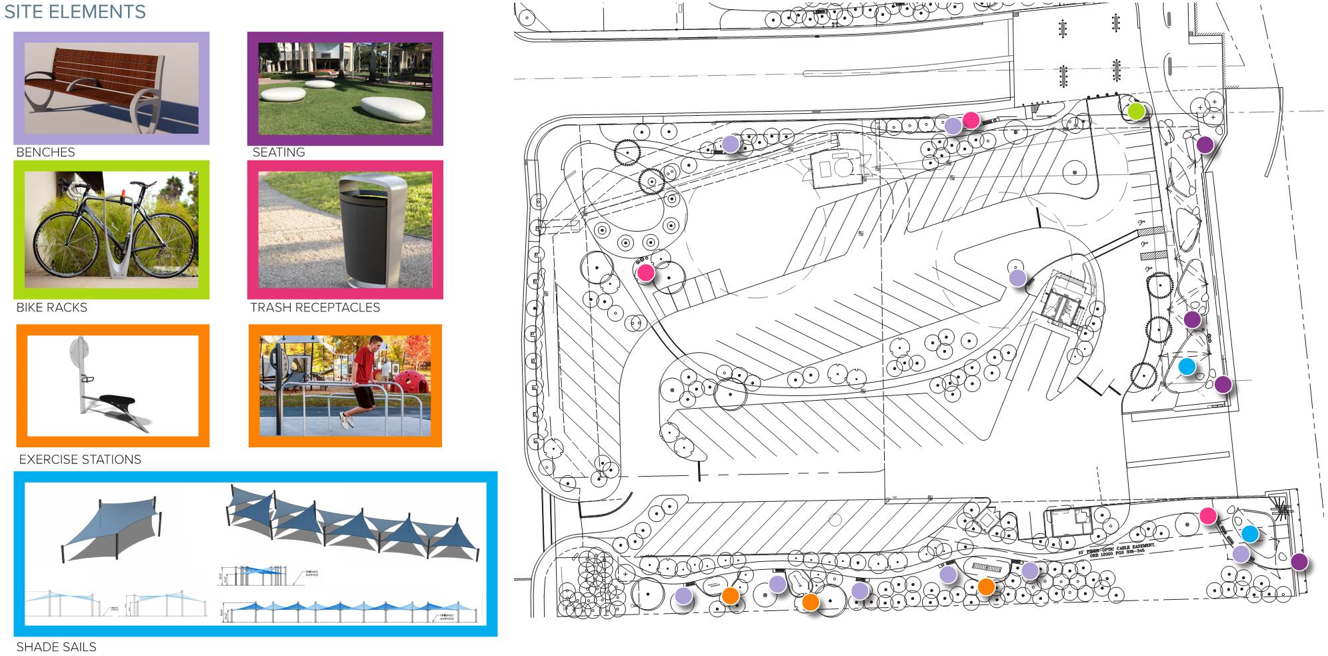 reference images for silver palm park elements and site map of where they're located Opens in new window